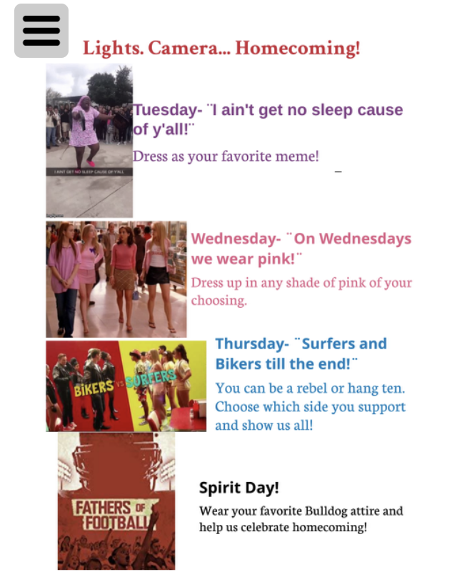 WHS Homecoming Dress-Up Days
