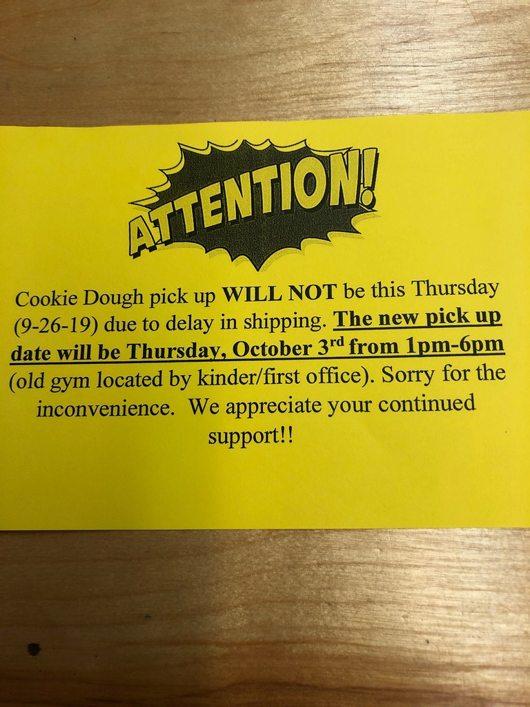 Important info concerning EECC cookie dough pick up